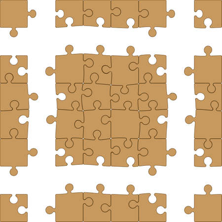 Vector Jigsaw Puzzle (16 pieces module + frame allows for unlimited expansion, easy to change colors - depth illusion uses editable blends)