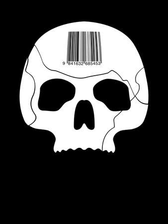 lethal: Illustration of Skull With Industrial Bar-code