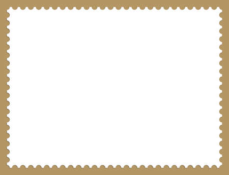 Illustration of Postage Stamp Frame Background With Shadows