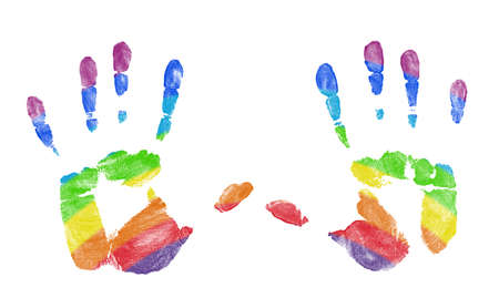 Hand Prints With Rainbow Colors Showing Through Stock Photo - 7271831