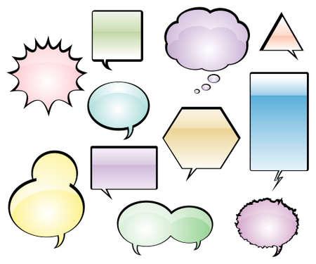 Color Comic Book Speech Balloons Vector