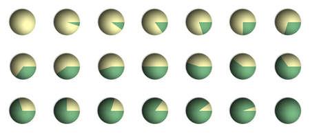 camembert graphique: Illustration de camembert pourcentage graphique de bitmap (de 0 % � 100 % par incr�ments de 5 %) Banque d'images