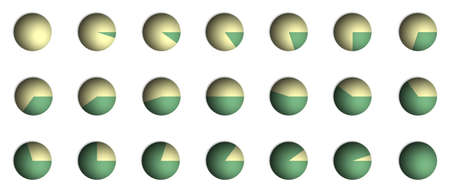 graficas de pastel: Mapa de bits, gr�ficos de porcentaje de ilustraci�n de un gr�fico circular (de 0% a 100% en incrementos del 5%) Foto de archivo