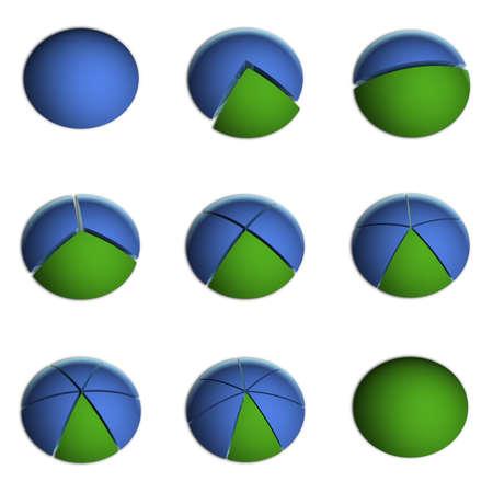 3D Bitmap-Illustrationen von Business-Kreisdiagrammen