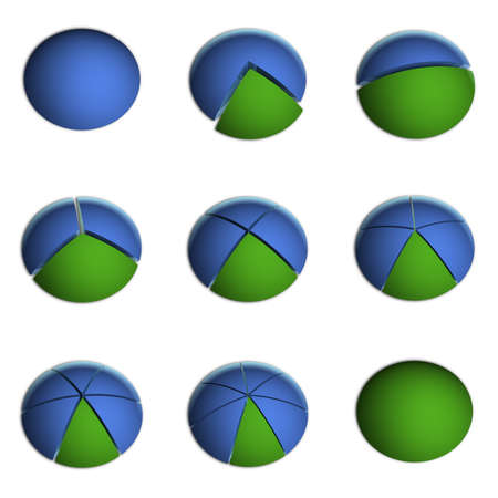 3D Bitmap Illustrations of Business Pie Charts