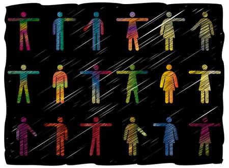 Freehand Line Art Vector Pictograms of Men and Women Stock Vector - 8919398