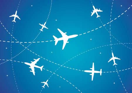 Ilustración vectorial de rutas de avión y estrellas