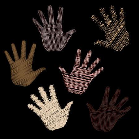 Seis ilustraciones vectoriales de arte de línea de manos humanas