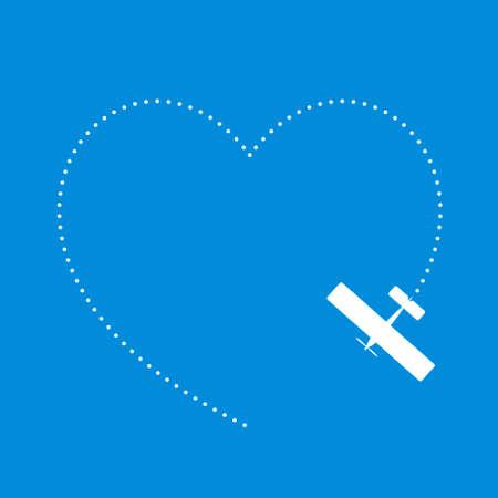 Vliegtuig een hart vorm tekenen in de hemel Vector Illustratie