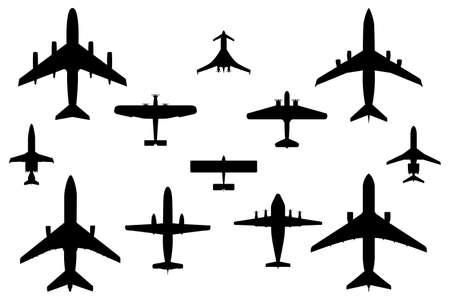 Zw�lf Vektorzeichnungen Silhouette Commercial Airplanes Illustration