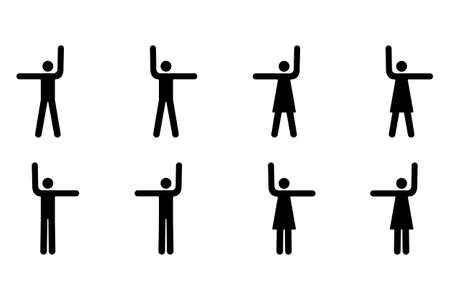 Vector Pictograms of Men and Women Pointing Up, Left and Right Stock Vector - 9680083