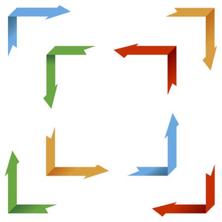 Eight Illustrations of Arrows Turning Around a Corner illustration