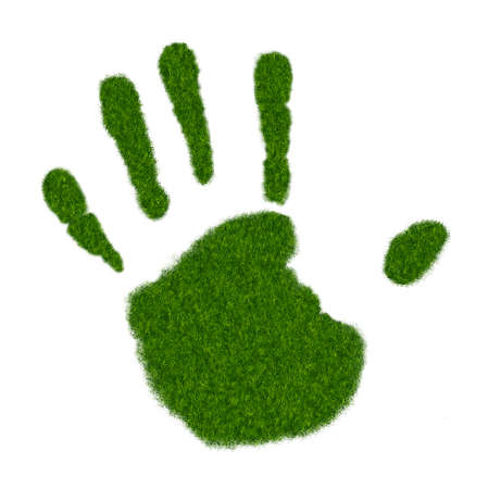 Realistic Illustration of Left Handprint on Grass