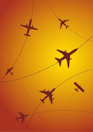 Vector Illustration of Airplane Routen bei Sonnenuntergang