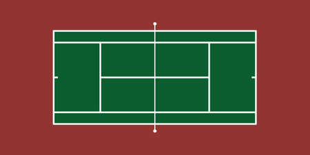 Illustration of Tennis Court (Hard Court) Çizim
