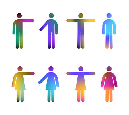 Colour Gradient Vector Pictograms of Men and Women (jpeg file has clipping path) Çizim