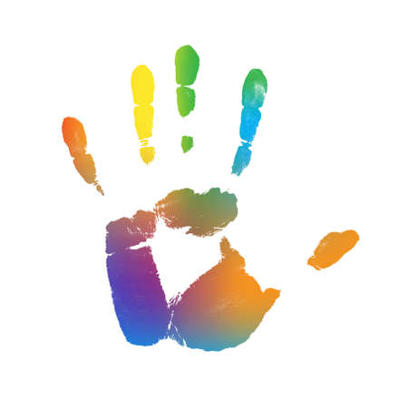 Color Gradient Hand Print Bitmap Illustration  Stok Fotoğraf