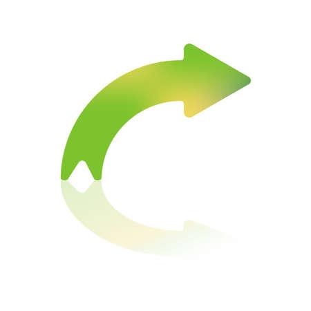 flecha derecha: Derecho en cuanto Color degradado curvada flecha con reflexión Vectores