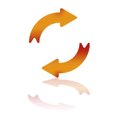flechas curvas: Dos flechas de degradado, representando el movimiento hacia la derecha con la reflexión Vectores
