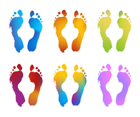 Six Gradient Color Pairs of Footprints Stock Vector - 10629034