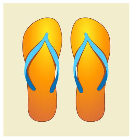 flipflops: Vector Illustration of Orange Pair of Flip-flops Illustration