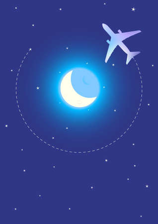 Vector Illustration of Airplane Flying Around The Moon Stock Vector - 10684806