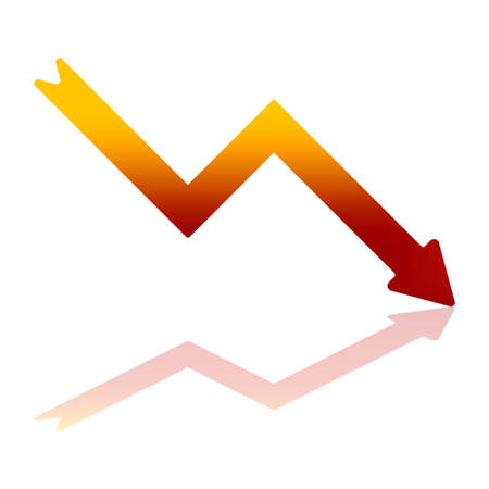 less: Gradient Color Arrow Indicating Financial Decline With Reflection on Bottom Plane