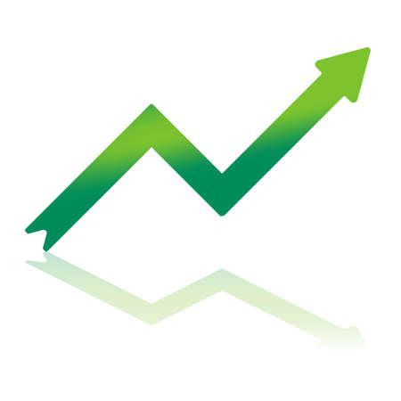 Gradiente de flecha de color que indica un crecimiento financiero con la reflexión sobre plano inferior