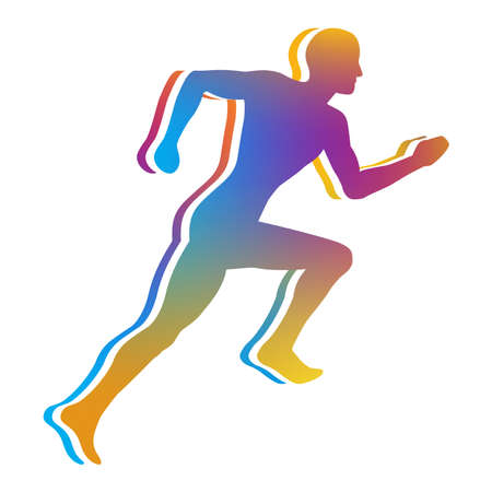 cardio fitness: Gradient Color Silhouette of Man Jogging