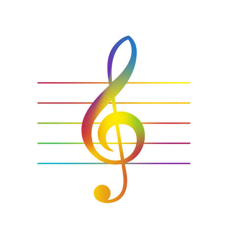 treble clef: Illustration of Colored Treble Clef Over Staff Lines