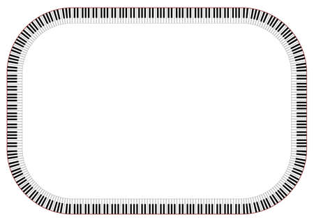 Horizontal Frame of Piano Keys - Vector Illustration