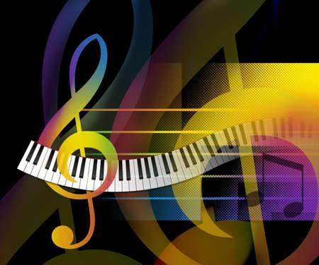 鋼琴: 摘要音樂背景與彎曲的鋼琴鍵位圖插圖 版權商用圖片