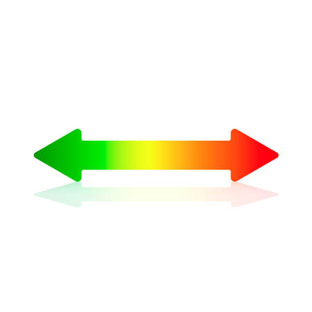 equivalent: Double Arrowhead Horizontal Arrow With Energy Efficiency Colors Illustration