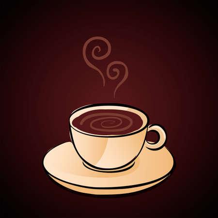 cappucino: Hand Getrokken Coffee Cup Vector Illustratie