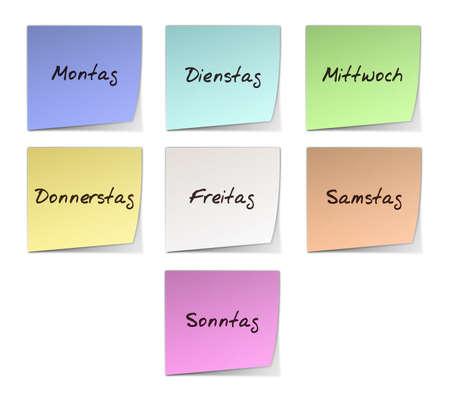 sonntag: Color de Post-it con d�as de la semana manuscritas en alem�n