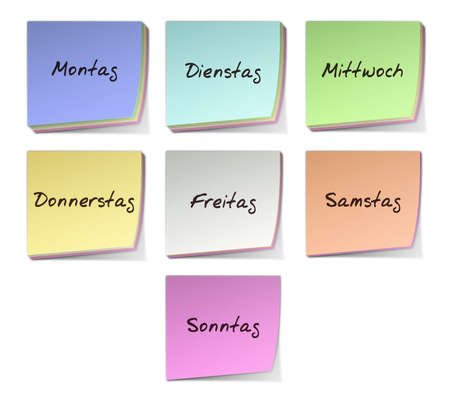 sonntag: Color Post-it Notes With Handwritten Weekdays in German