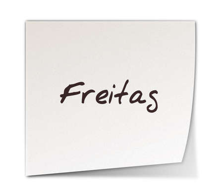freitag: Color Post-it Notes With Handwritten Friday in German