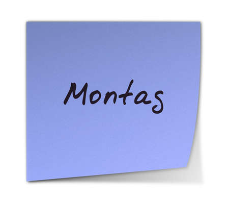 montag: Color Post-it Note With Handwritten Monday in German Stock Photo