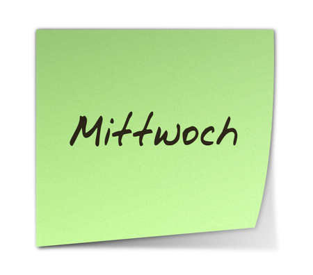 weekday: Color Post-it Note With Handwritten Wednesday in German Stock Photo