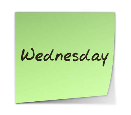 weekday: Color Post-it Notes With Handwritten Wednesday Weekday Stock Photo