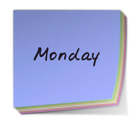 weekdays: Color Post-it Note With Handwritten Weekday in English