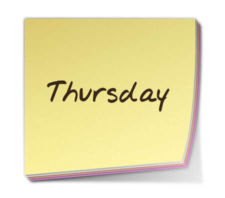thursday: Color Post-it Note With Handwritten Weekday in English
