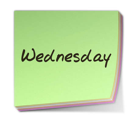 weekday: Color Post-it Note With Handwritten Weekday in English