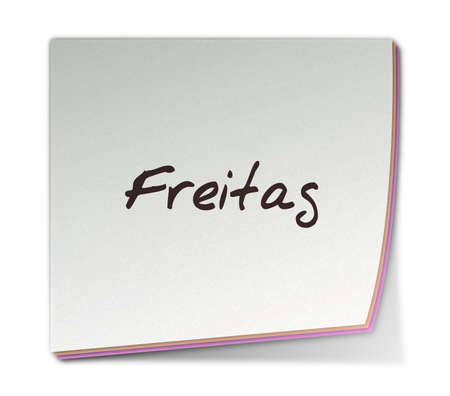 freitag: Color Post-it Note With Handwritten Weekday in German
