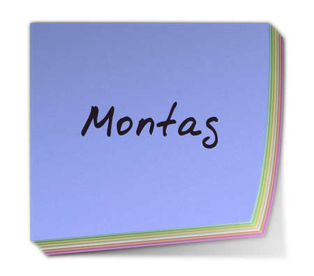 montag: Color Post-it Note With Handwritten Weekday in German