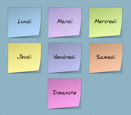weekdays: Color Paper Notes With Handwritten Weekdays in French