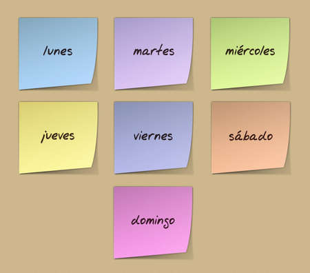 Color Paper Notes With Handwritten Weekdays in Spanish