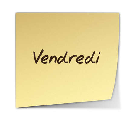 weekdays: Color Paper Note With Friday Text in French  jpeg file has clipping path