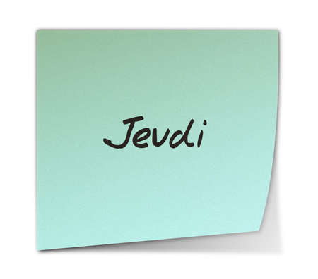 weekdays: Color Paper Note With Thursday Text in French