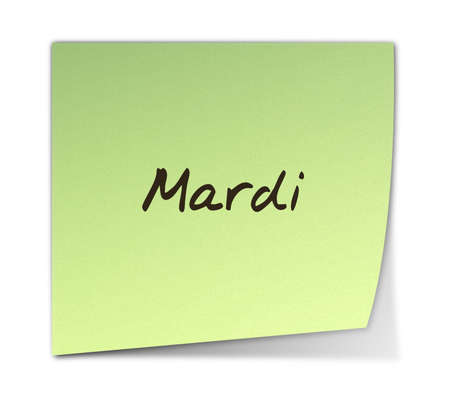 weekdays: Color Paper Note With Tuesday Text in French